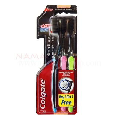 Colgate Toothbrush Slim Soft Charcoal pack 3pcs