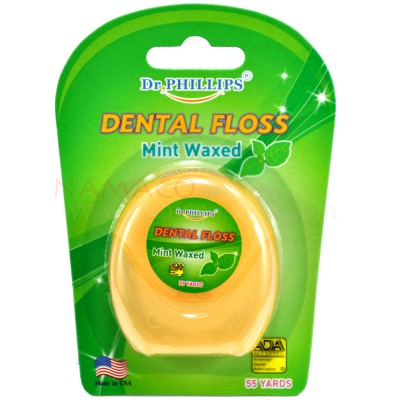 Dr. Phillips dental floss mint waxed 50m