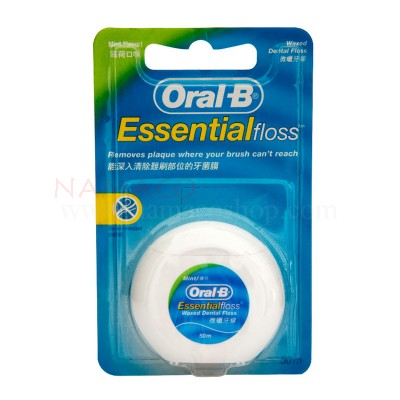 Oral-B Essential Dental Floss waxed mint 50m