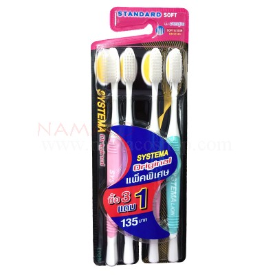 Systema toothbrush original, standard soft, bristles, pack 4