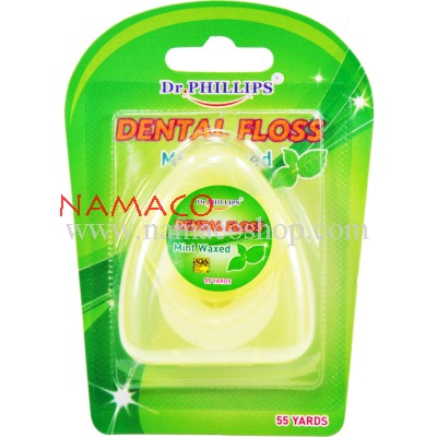 Dr. Phillips dental floss Polyester mint waxed 50m