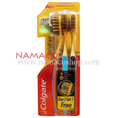Colgate toothbrush Slim Soft Gold Charcoal pack 3pcs
