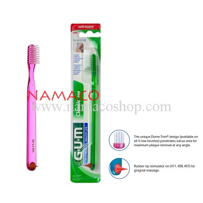 Gum Toothbrush Classic 409 with rubber tip compact head